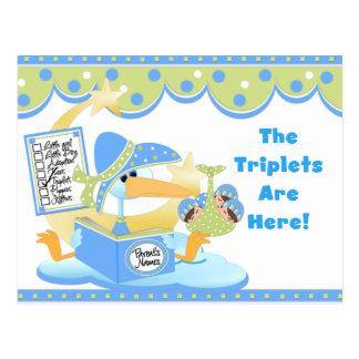 Stork White Boy Triplets Cards Postcard