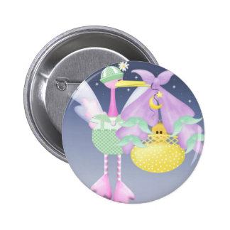Stork with Baby 6 Cm Round Badge