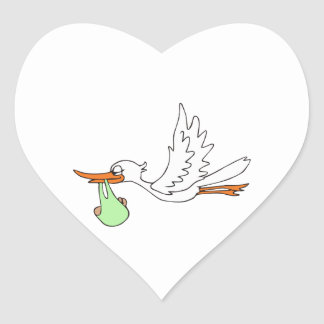 STORK WITH BABY HEART STICKERS