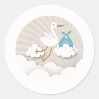 Stork with Blue Bundle Boy Baby Shower Classic Round Sticker