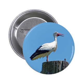 Stork with blue sky (Storch) 001 02 6 Cm Round Badge
