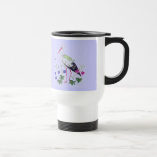 stork with frog travel mug