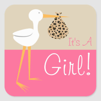 Stork With Leopard Print Bundle It's A Girl Square Sticker