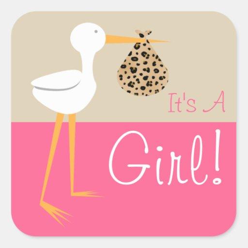 Stork With Leopard Print Bundle It's A Girl Sticker