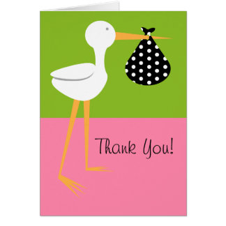 Stork With Polka Dot Bundle Baby Shower Thank You Card