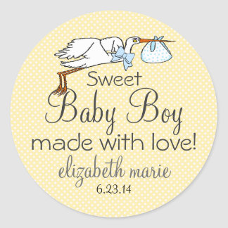 Stork-Yellow Baby Shower Favor Stickers
