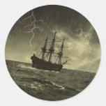 Storm at Sea Round Sticker