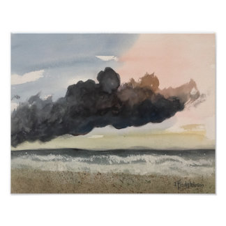STORM ,  AT SEA  WATERCOLOR POSTER