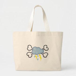 storm cloud Skull and Crossbones Jumbo Tote Bag