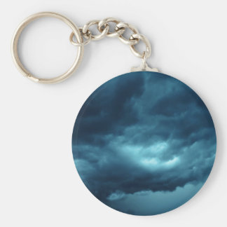 Storm clouds basic round button key ring