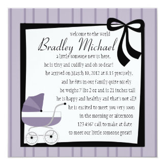 Storm Clouds Purple Baby Buggy Custom Announcements