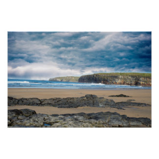 storm clouds with soft cliff waves poster