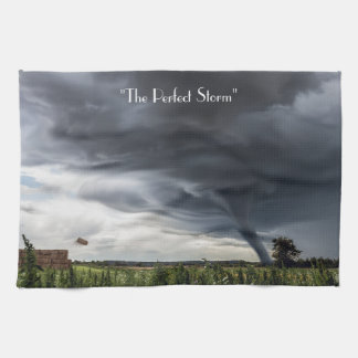 Storm tornado or twister lifing bales bad weather tea towel