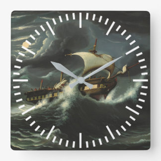Storm Tossed Frigate by Thomas Chambers Square Wall Clock