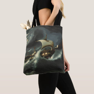 Storm Tossed Frigate by Thomas Chambers Tote Bag