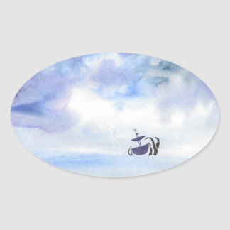 Storm-Tossed Oval Sticker