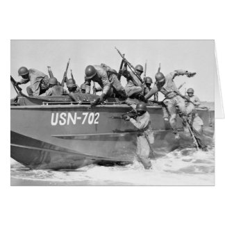 Storming the Beach, 1940s Greeting Card