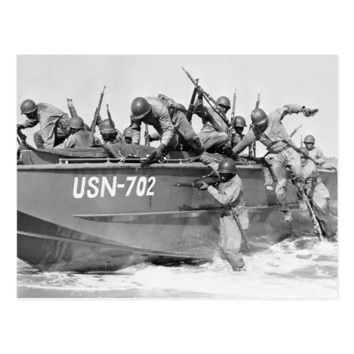 Storming the Beach, 1940s Post Cards