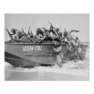 Storming the Beach, 1940s Poster
