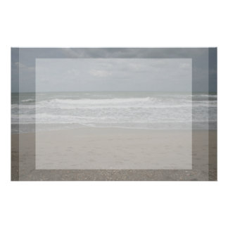 Stormy beach ocean view stationery paper