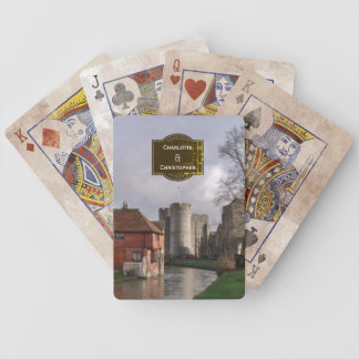 Stormy Castle And River Personalized Wedding Bicycle Playing Cards