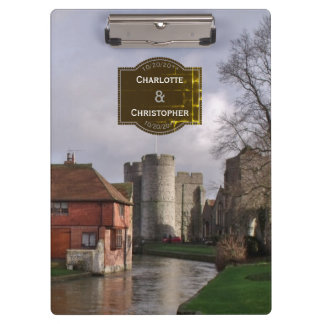 Stormy Castle And River Personalized Wedding Clipboard