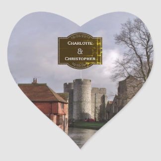 Stormy Castle And River Personalized Wedding Heart Sticker