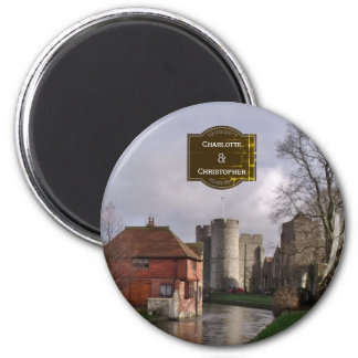 Stormy Castle And River Personalized Wedding Magnet