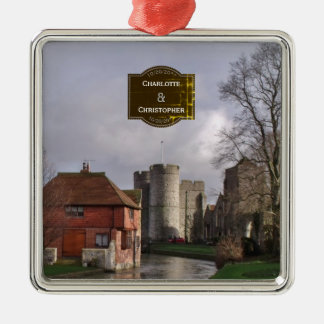Stormy Castle And River Personalized Wedding Metal Ornament