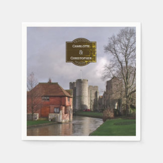 Stormy Castle And River Personalized Wedding Paper Napkins