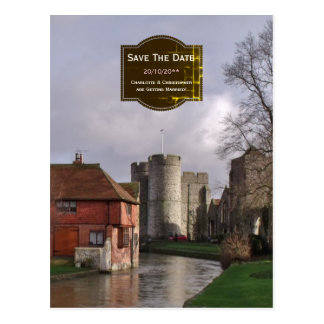 Stormy Castle And River Save the Date for Wedding Postcard