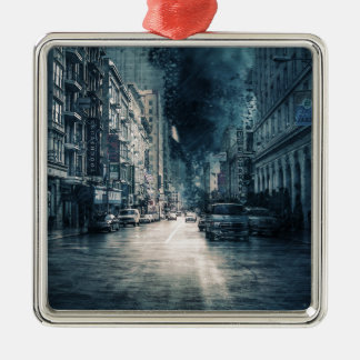 Stormy Cityscape Metal Ornament