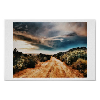 Stormy Clouds Road Landscape South Africa Poster
