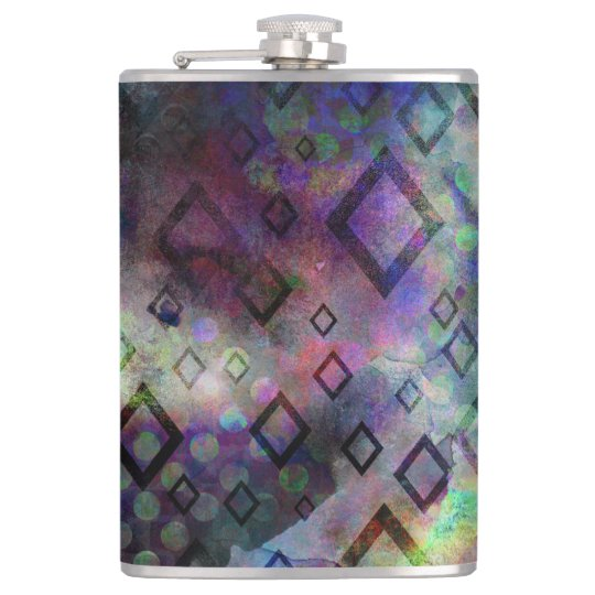 Stormy colourful watercolor abstract w/ diamonds hip flask