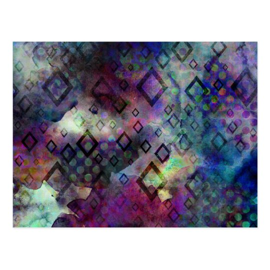 Stormy colourful watercolor abstract w/ diamonds postcard
