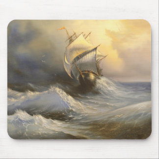 Stormy Frigate Painting Mouse Pad