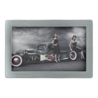 Stormy Night Rat Rod Pickup Truck Pin Up Girls Belt Buckle