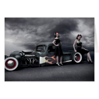 Stormy Night Rat Rod Pickup Truck Pin Up Girls Card