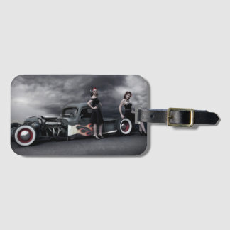 Stormy Night Rat Rod Pickup Truck Pin Up Girls Luggage Tag