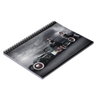 Stormy Night Rat Rod Pickup Truck Pin Up Girls Notebook