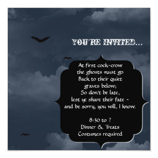 Stormy Night with Bats Halloween Party Invitations