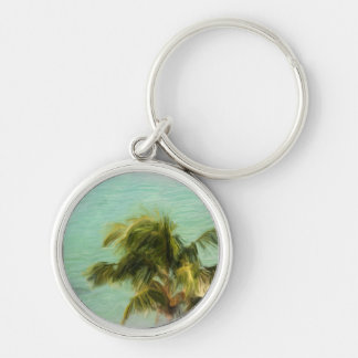 Stormy Palms Silver-Colored Round Key Ring