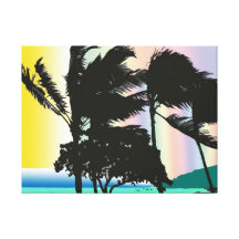 Stormy Palms Wrapped Canvas Print