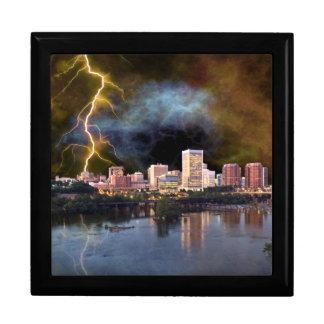 Stormy Richmond Skyline Large Square Gift Box