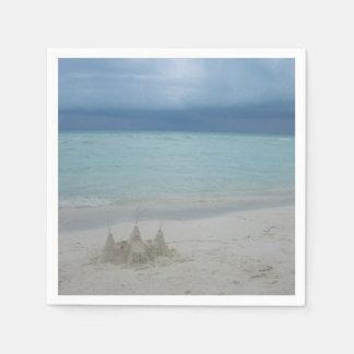 Stormy Sandcastle Beach Landscape Disposable Serviette