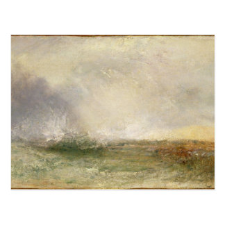 Stormy Sea Breaking on a Shore, 1840-5 (oil on can Postcard