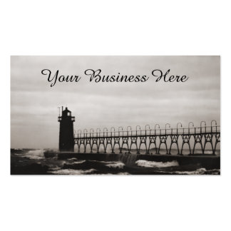 Stormy Sea Lake Michigan Seascape Lighthouse Pack Of Standard Business Cards