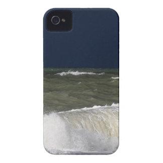 Stormy sea with waves und a dark blue sky. iPhone 4 case