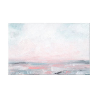 Stormy Seas - Gray & Pink Seascape Canvas Print
