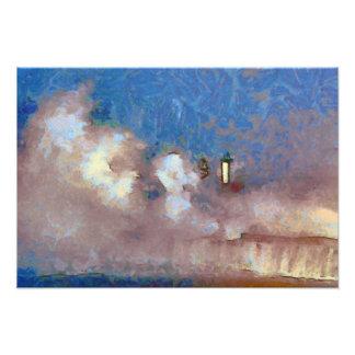 Stormy Seas Lighthouse Art Photo